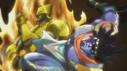 ジョジョ アニメ 第三部 第47話 殴られるスタプラ