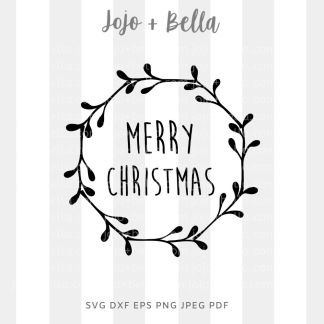 Merry christmas wreath SVG - Christmas cut file for Cricut and silhouette