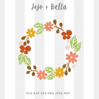 Fall flower wreath Svg - fall cut file for cricut and silhouette