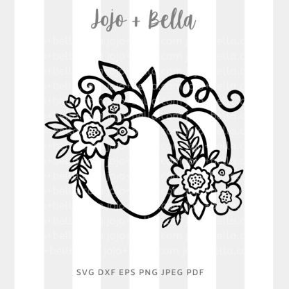 Floral Pumpkin Svg - fall cut file for cricut and silhouette