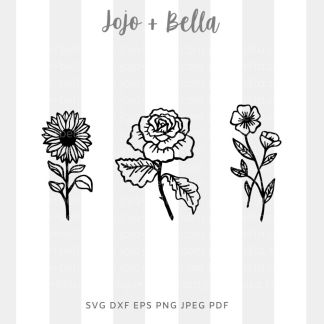 Wild flowers/ flowers Svg - flowers/wreaths cut file for cricut and silhouette