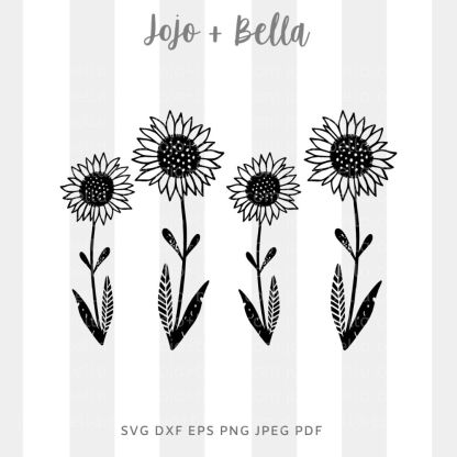 Sunflowers Svg - flowers/wreaths cut file for cricut and silhouette