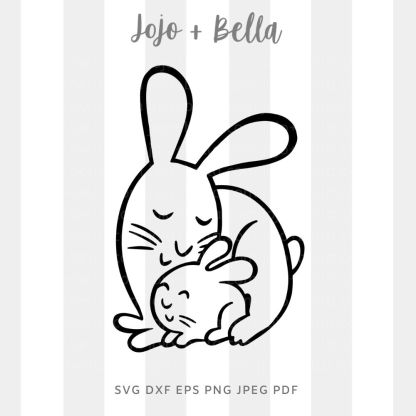 Mommy bunny baby bunny SVG - cut file for cricut and silhouette