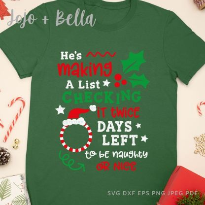 Christmas countdown svg - Christmas cut file for Cricut and Silhouette