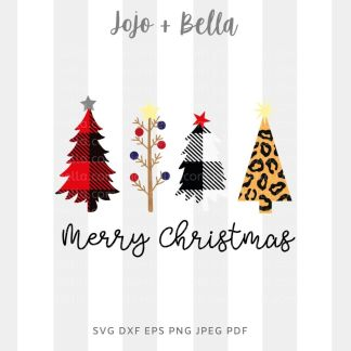 Merry christmas tree svg - christmas cut file for Cricut and Silhouette