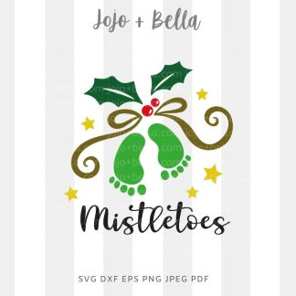 mistletoe image baby - Christmas cut file for cricut and silhouette