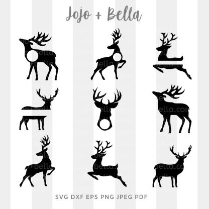 reindeer bundle svg - christmas cut file for cricut and silhouette