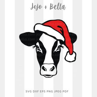 Santa cow Svg - Christmas cut file for cricut and silhouette