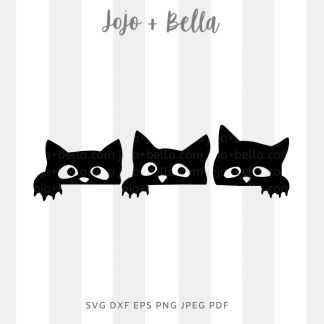 Three black cats Svg - halloween cut file for cricut and silhouette