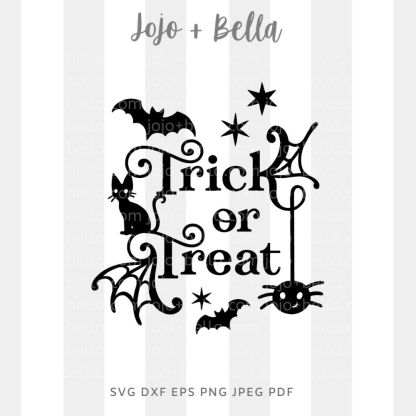 Trick or Treat Stars Svg - halloween cut file for cricut and silhouette