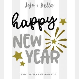 happy new year stars SVG - New Years cut file for Cricut and Silhouette