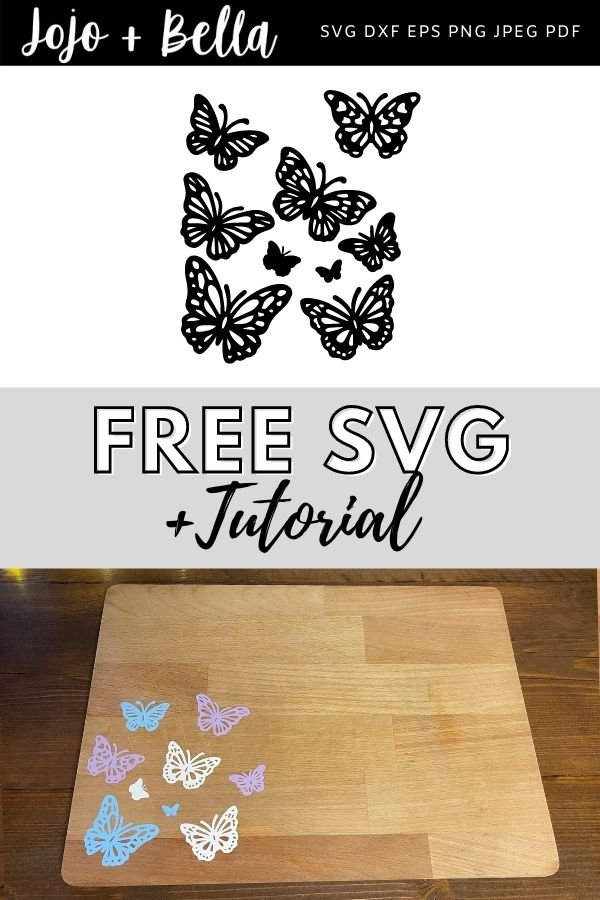 free butterfly svg bundle for cricut and silhouette crafting projects. Use this free svg for htv on wood.