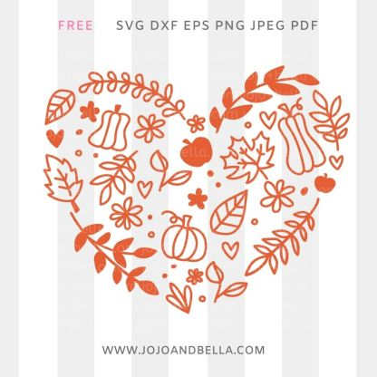 Free Fall Leaf Heart Svg cut file for Cricut and Silhouette
