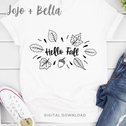 Hello Fall Leaves Svg cut file for Cricut and Silhouette