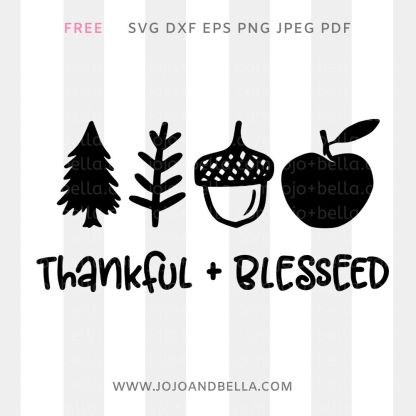 free Thankful and Blessed svg for cricut and silhouette crafting