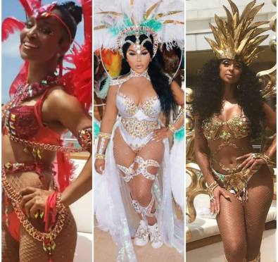 Lil Kim, Mya & Chilli Give Goddess Looks While Filming Their New Reality Show During Carnival In Trinidad [Photos/Video]