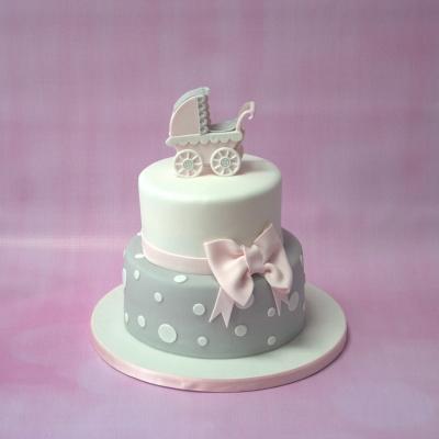 Pram Baby Shower Cake Pink Amp Grey