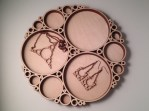 Apollonian - Jewelry and Tray designed using circle-packing algorithm, baltic birch, .75 x 12 x 12 in., 2015. Designed with Grasshopper in Rhino.