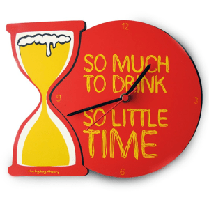 "beer hourglass clock with inscription ""so much to drink, so little time"" how to prevent a hangover"