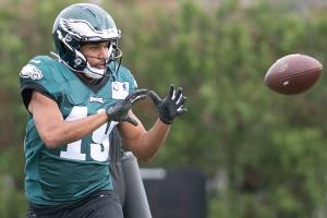 Golden Tate snags a pass as he prepares for his first game in an Eagles uniform on Sunday night against the hated Dallas Cowboys