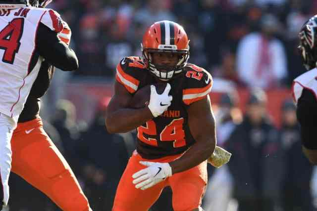 Nick Chubb totes the rock and is one of our picks for your daily fantasy lineup in week 12