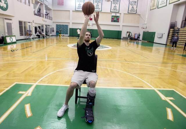 Gordon Hayward's rehab process included shooting a basketball from a chair while wearing a cast on his injured leg. Gordon Hayward's Return, a story by Joker Mag - the home of the underdog.