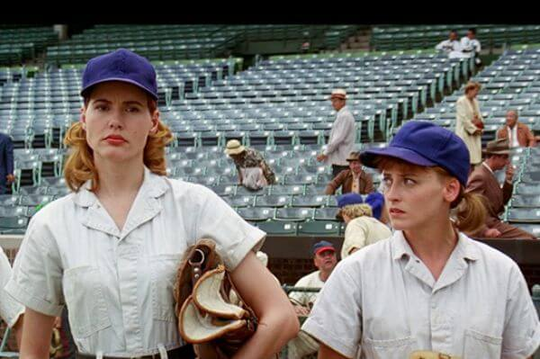 Kit and Dottie at try outs in A League of Their Own