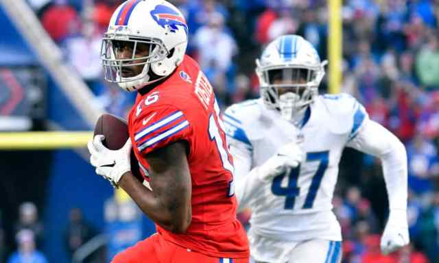 Robert Foster runs away from the Detroit Lions defense. Foster is one of our Week 16 Sneaky Plays for your daily fantasy football lineup.