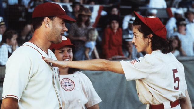 A scene with Tom Hanks and Lori Petty from A League of Their Own