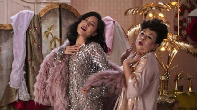 Crazy Rich Asians trying on clothes with mother