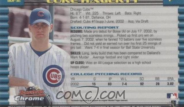 Luke Hagerty baseball card from 2003.  Luke hagerty comeback to baseball with the cubs.