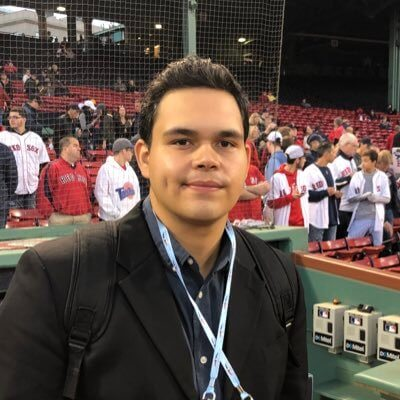 MLB reporter Manny Espinal at Fenway Park during the Yankees-Red Sox rivalry series