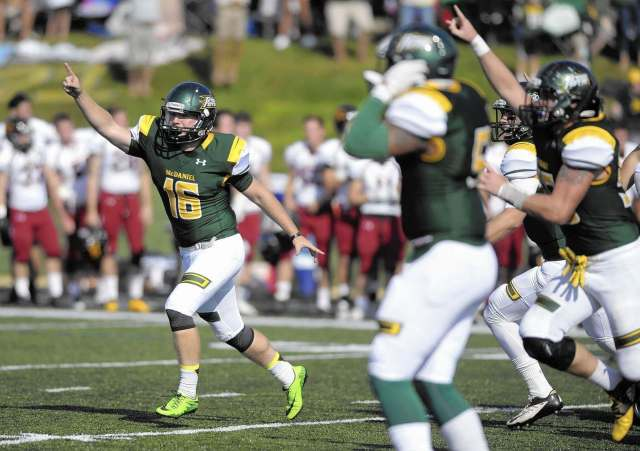 Spencer Wiersberg celebrates hitting a game-winning field goal against Ursinus in 2016