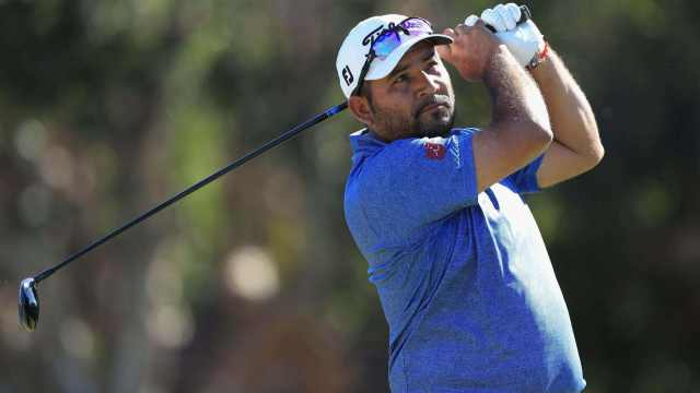 Jose de Jesus Rodriguez watches his 300-foot drive soar through the air on the PGA Tour.