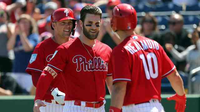 Bryce Harper makes his Philadelphia Phillies debut in Spring Training in Clearwater, Florida on March 9th, 2019.