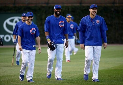 Tommy La Stella shares a laugh with fellow Chicago Cubs Jason Heyward and Anthony Rizzo in 2016.