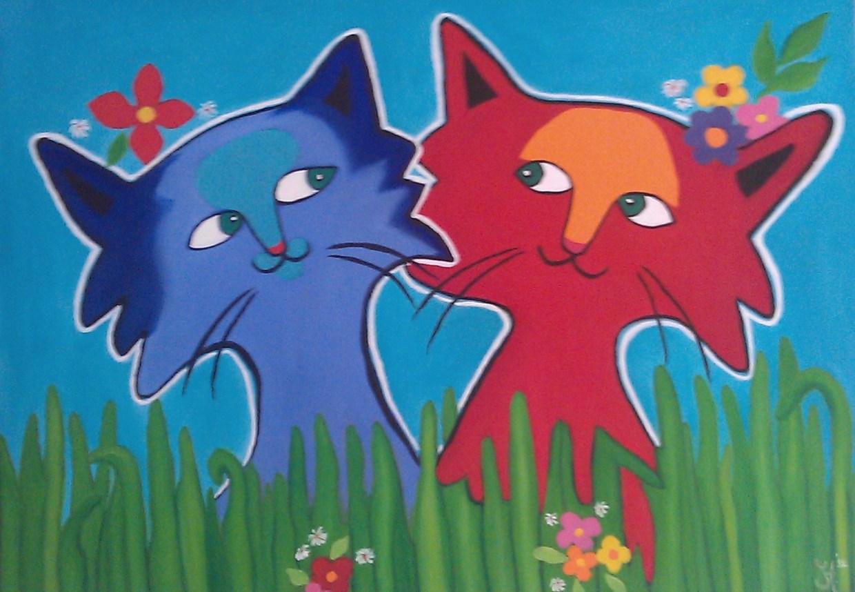 Schilderij kleurige katten