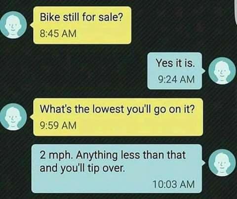 a bike sale inquiry