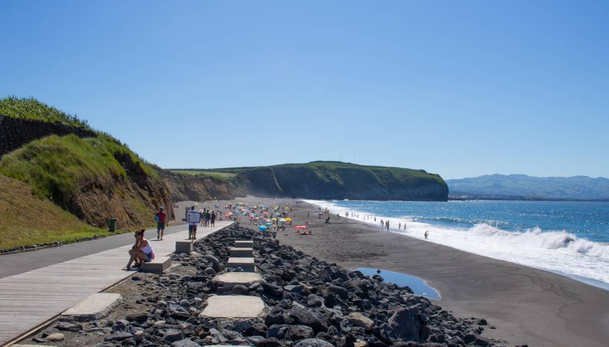 Praia de Santa Bárbara na ilha de São Miguel, nos Açores