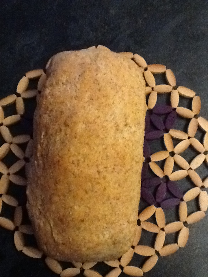My little baked loaf of healthy wholemeal bread.