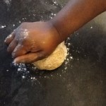 Kneading the bread dough