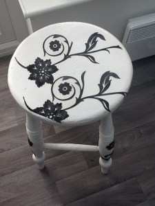 I'm very pleased with the decoupage craft work on this stool.