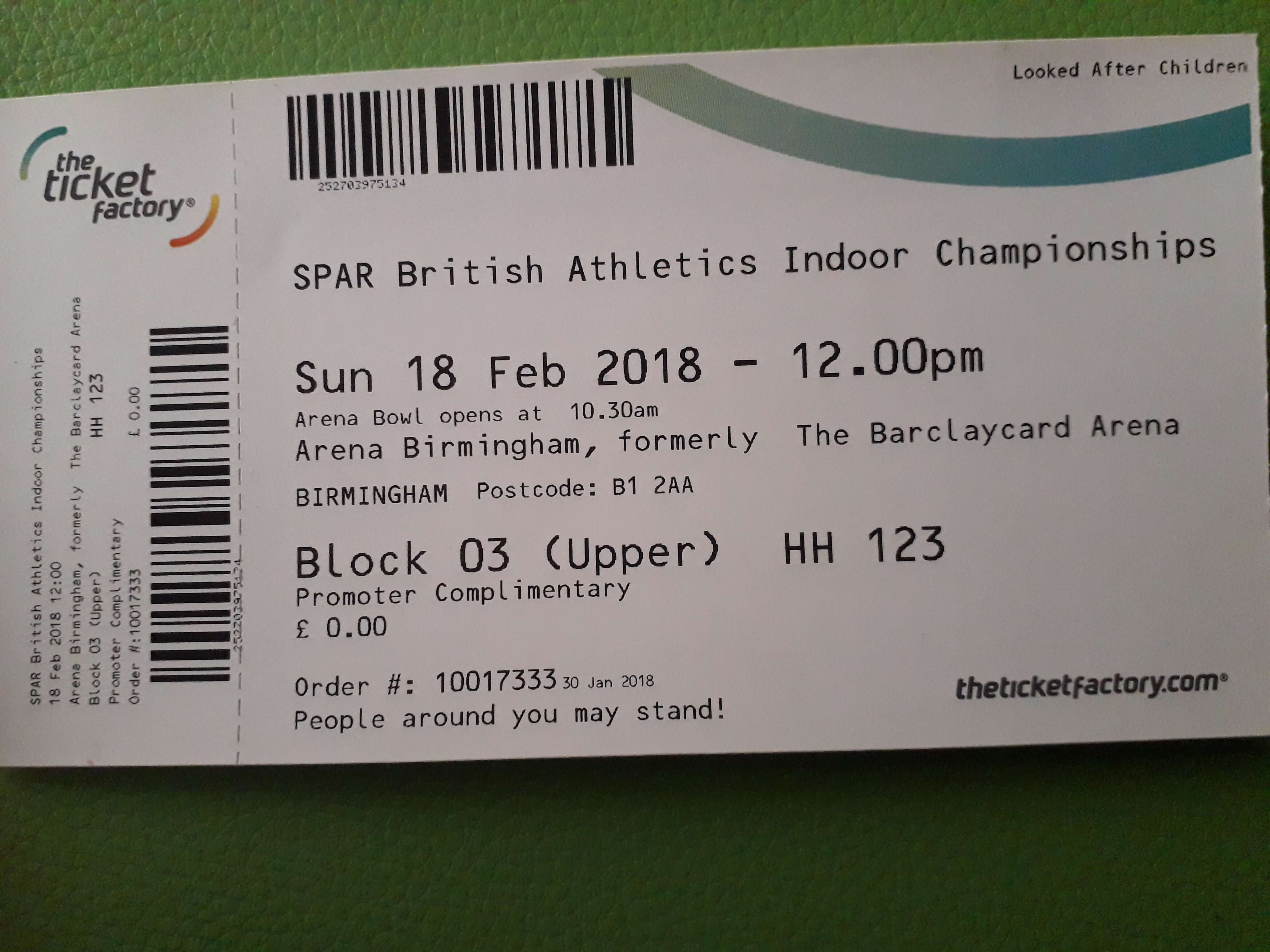 Frugal things- Athletics ticket