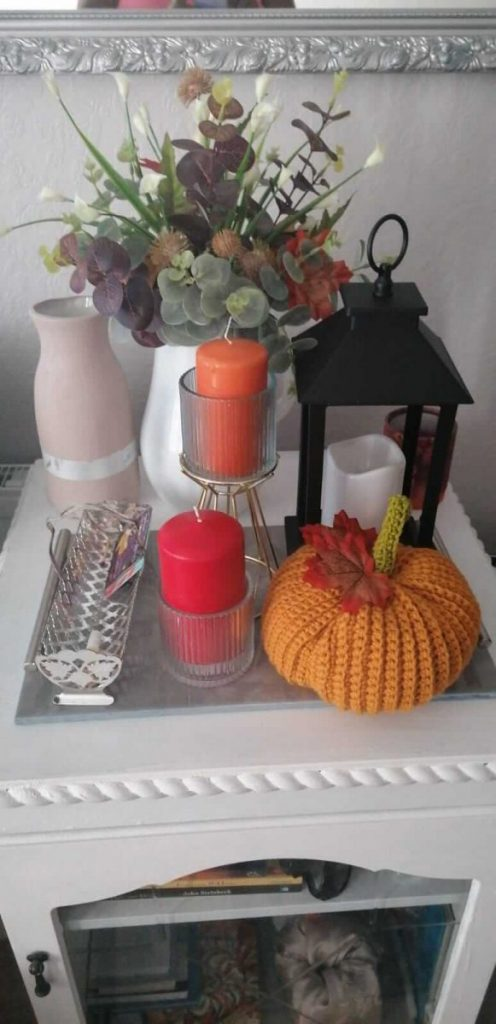 A table decorated for Fall