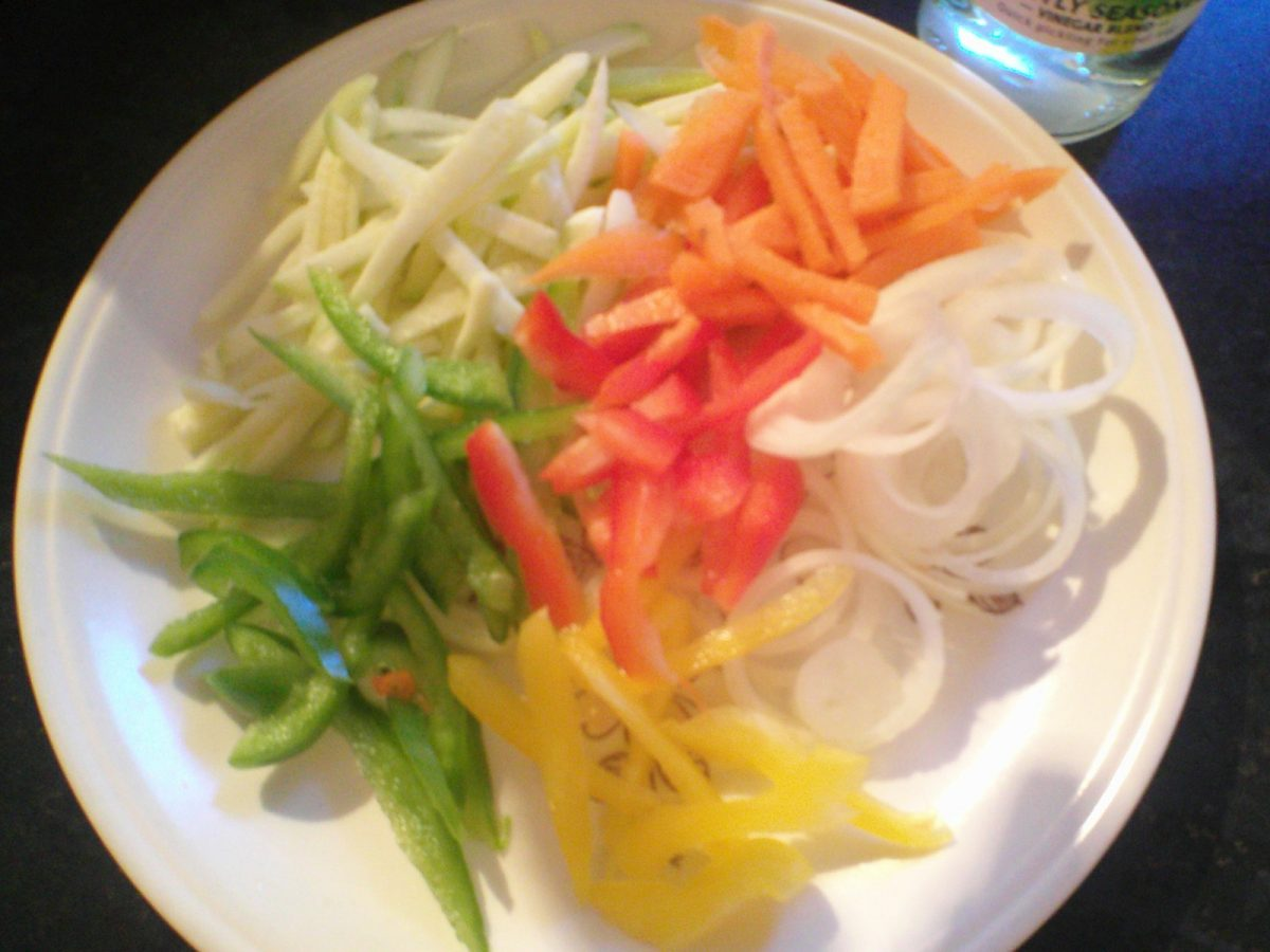 Sliced up vegetables for making escovitch fish