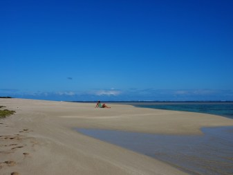 Babe on deserted beach