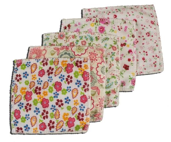 Lingettes coton polaire JoliKrea fleurs roses