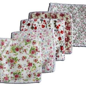 Lingettes coton et polaire JoliKrea fleurs rouges