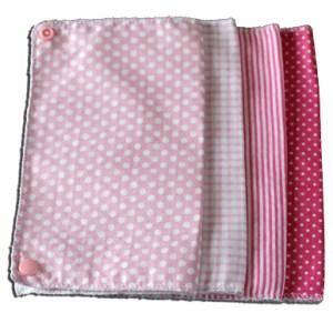 Lot essuies tout lavables, motifs pois et rayures roses