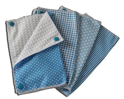 Lot essuies tout lavables, motifs bleu pois et rayures